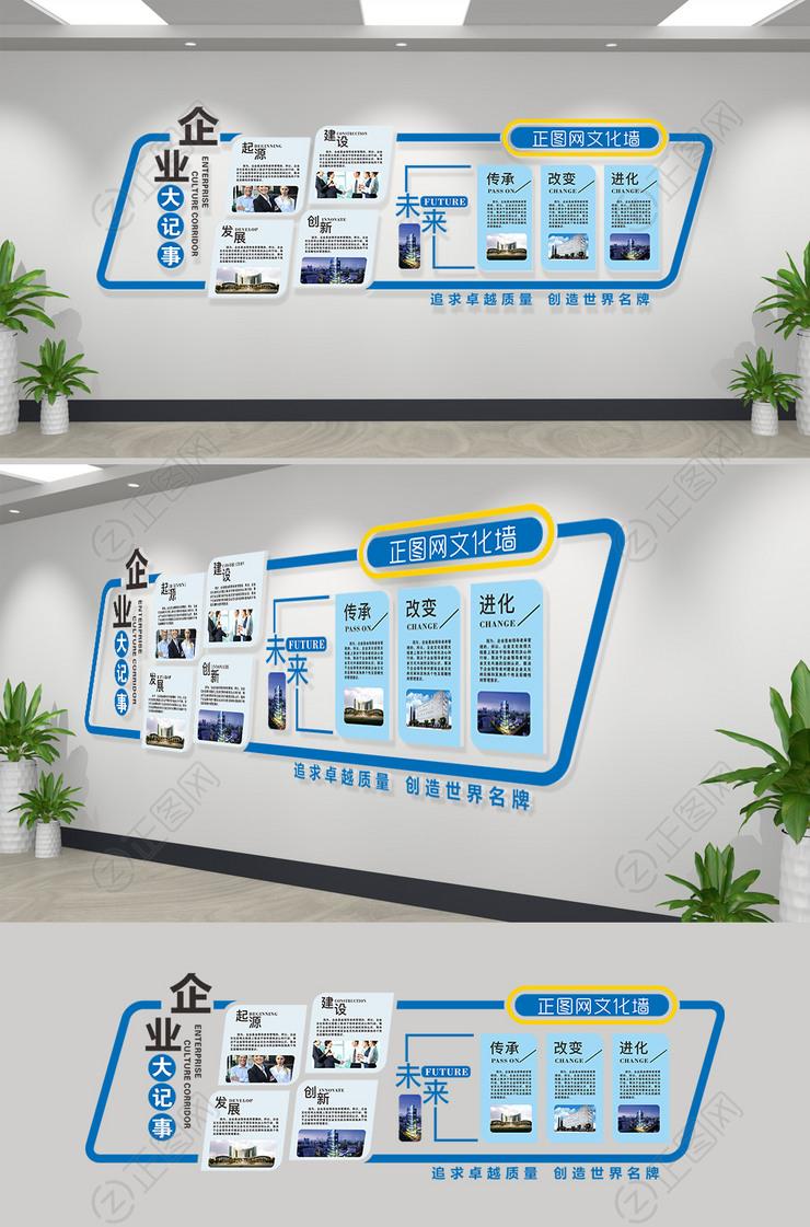 蓝色创意企业大事记文化墙下载