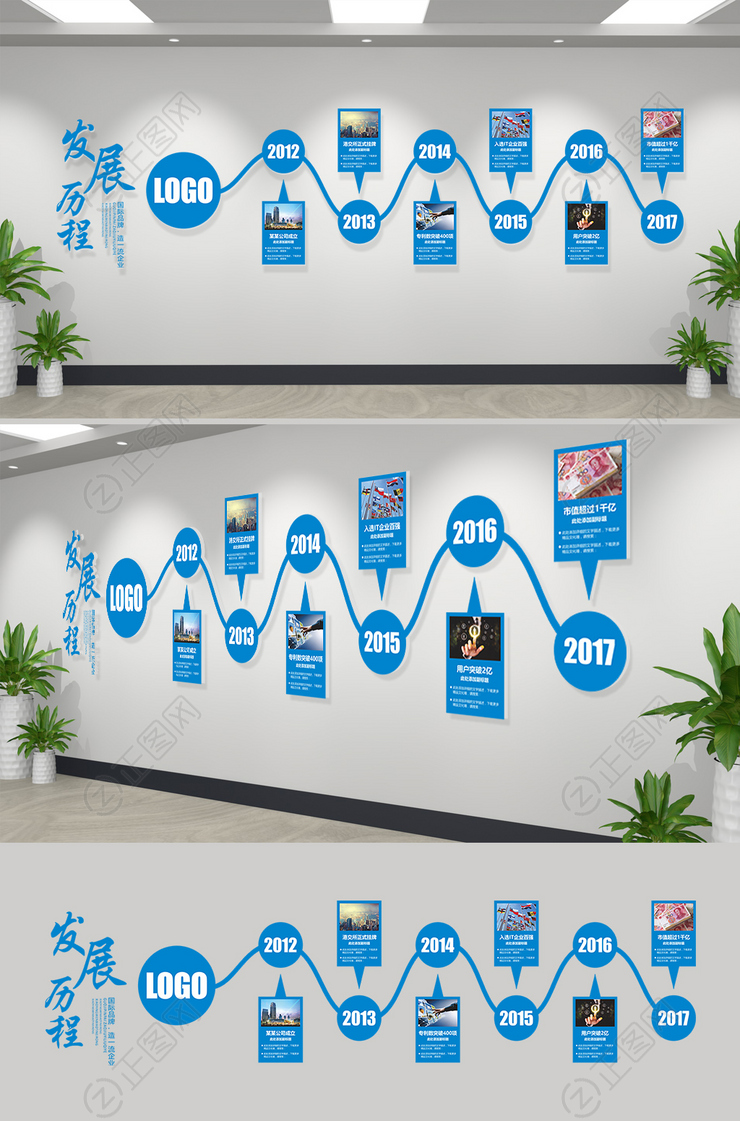 企业发展历程文化墙CDR模板