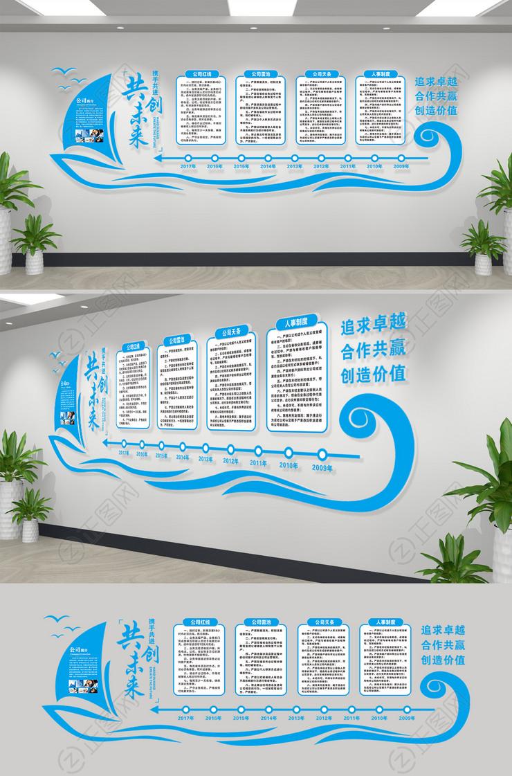 蓝色扬帆起航科技企业文化墙宣传栏公司文化墙