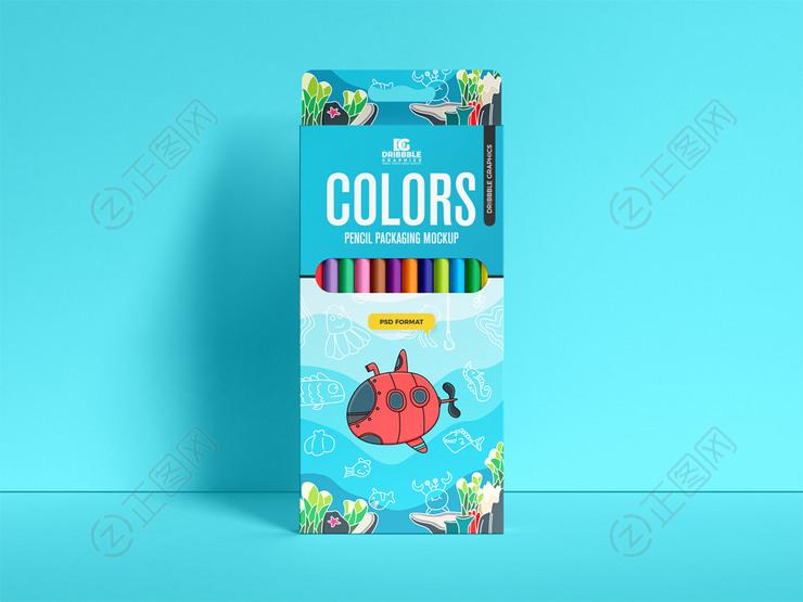 彩色铅笔包装盒样机